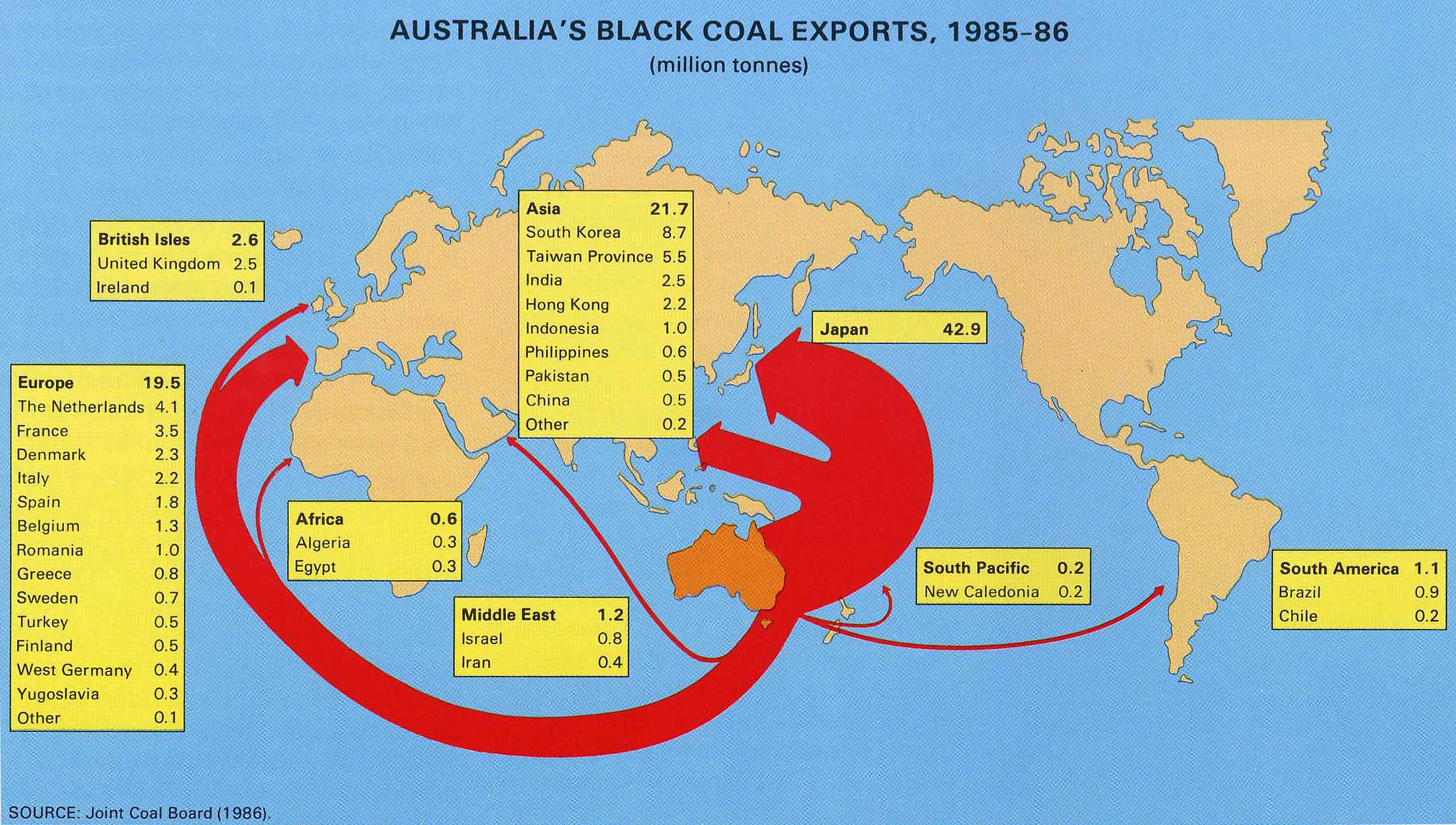 Stylised thematic map of Austalia's black coal exports, 1985-1986