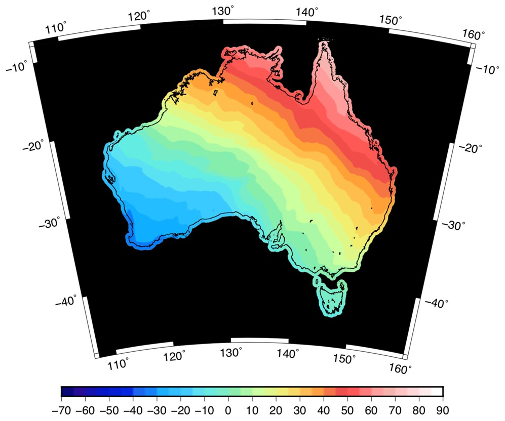 Map of Australia with colour scale of -30 m in southwest to +80m in northeast