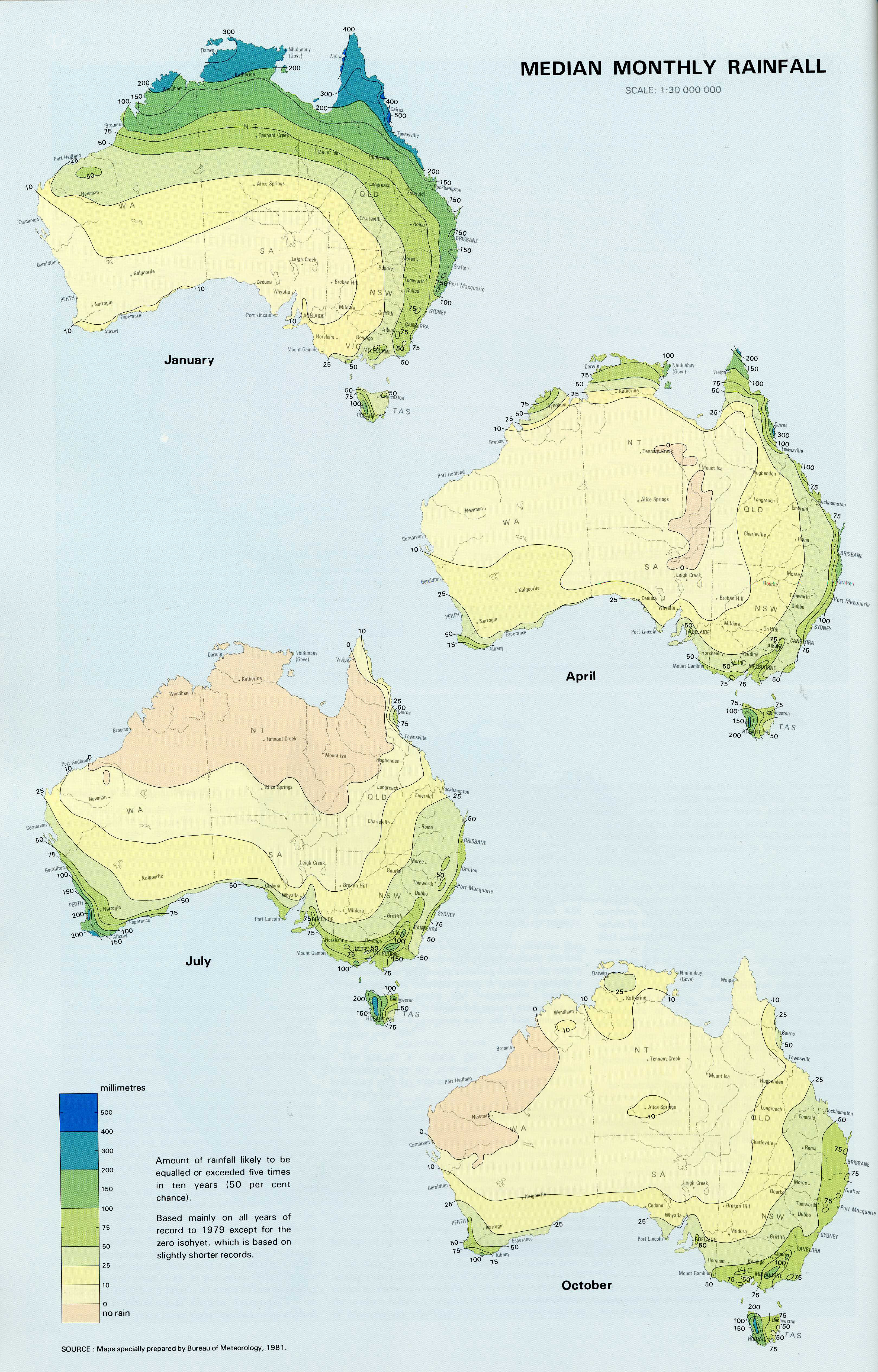 Time series map used for rainfall, shows 4 different maps of Australia, showing different rainfall for different months.