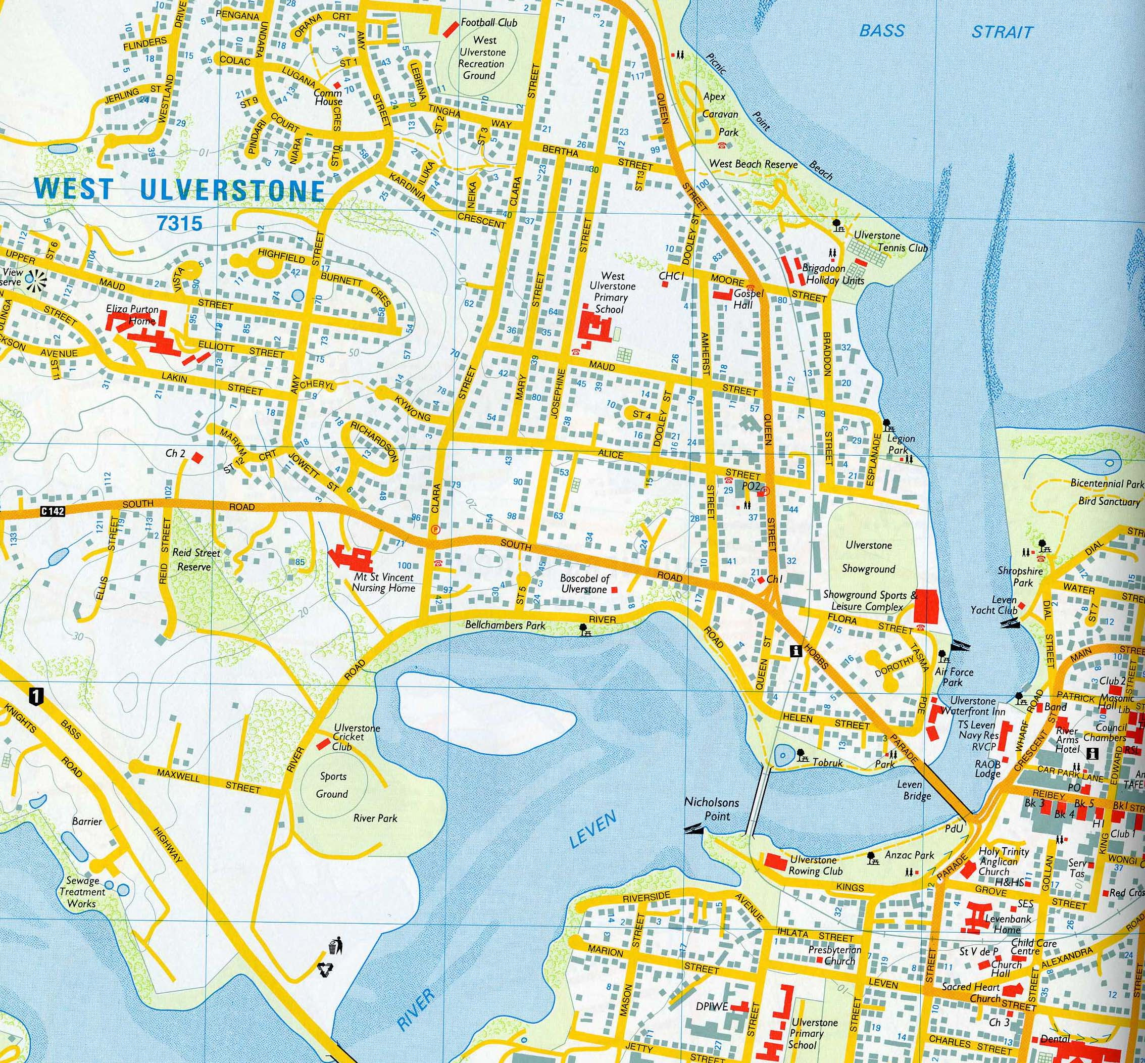 west ulverstone street map